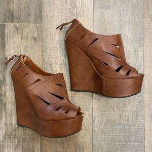 Platform wedge shoes with open toe and zip heel
